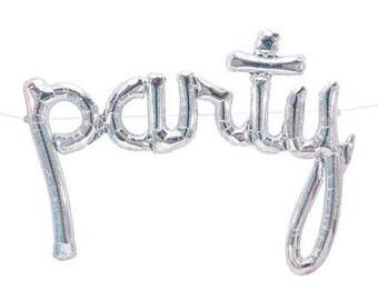 Script Party Balloon - mariage-Photo Prop-anniversaire - fiançailles - douche nuptiale, holographique