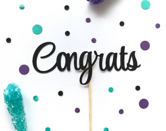 Congrats glitter cake topper,