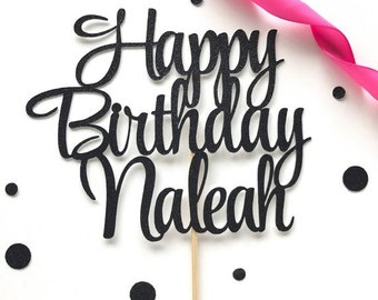 Custom Happy Birthday Cake Topper, Birthday Party Decor, Personalized Name Cake Topper