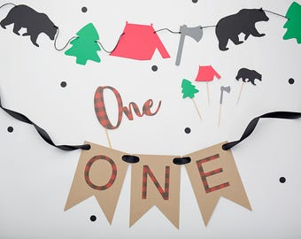 Lumberjack birthday party package - One banner -Cake Topper -Buffalo Plaid  -  Woodland First Birthday-Garland - Party Decor