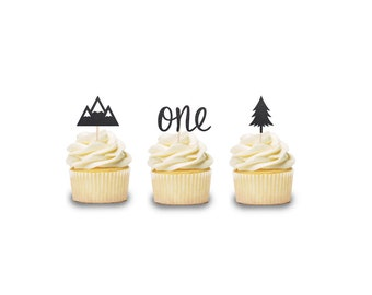 Mountain themed cupcake toppers  Where wild things, Wilderness topper, Lumberjack Birthday Cake Smash, Mountain Cake Topper, First Birthday