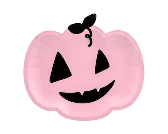 Pink Pumpkin Paper Plates, The spooky One, Halloween Party Supplies