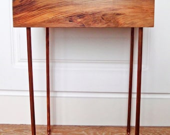 Side table with copper pipe legs