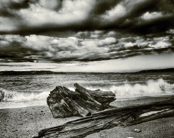Landscape Photography, Beach, Crashing Waves, PNW, Washington State, Print