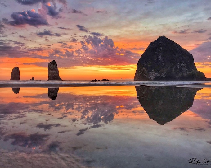 Featured listing image: Cannon Beach Sunset Reflections (Haystack Rock and The Needles)