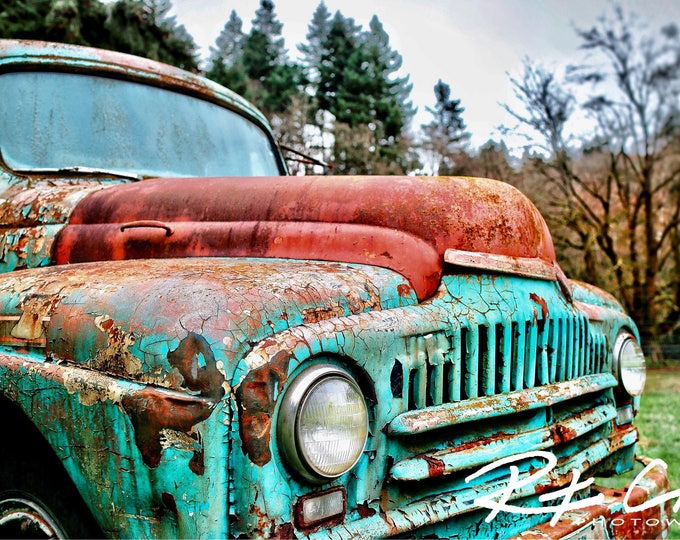Featured listing image: Old Truck Photography, Vintage Truck, PNW, Washington State, Landscape Photography, Print