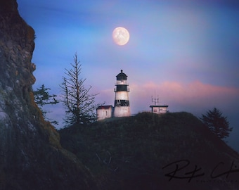 Cape Disappointment Lighthouse, Lighthouse, Moonrise