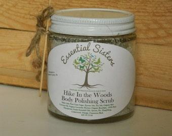 """All Natural Body Scrub - """"Outdoorsy"""" Scrub -Hike In the Woods Body Polishing Scrub -Essential Oil Sugar Scrub - Salt Scrub - 4 oz Body Scrub"""