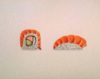 Sushi Watercolor Original 6x8 Food Art