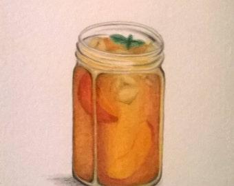 Peach Iced Tea Original Watercolor 6x8
