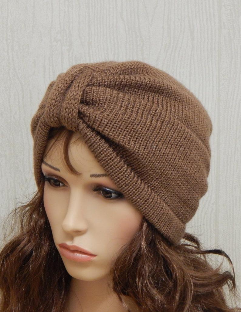 4f03858cc7095 Knit full turban hat knitted winter hat handmade womens