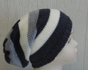 boys hats, knit slouchy beanie, infant boy hat, handmade hat, kids hats, striped slouchy hats, CHOOSE COLOURS and SIZES