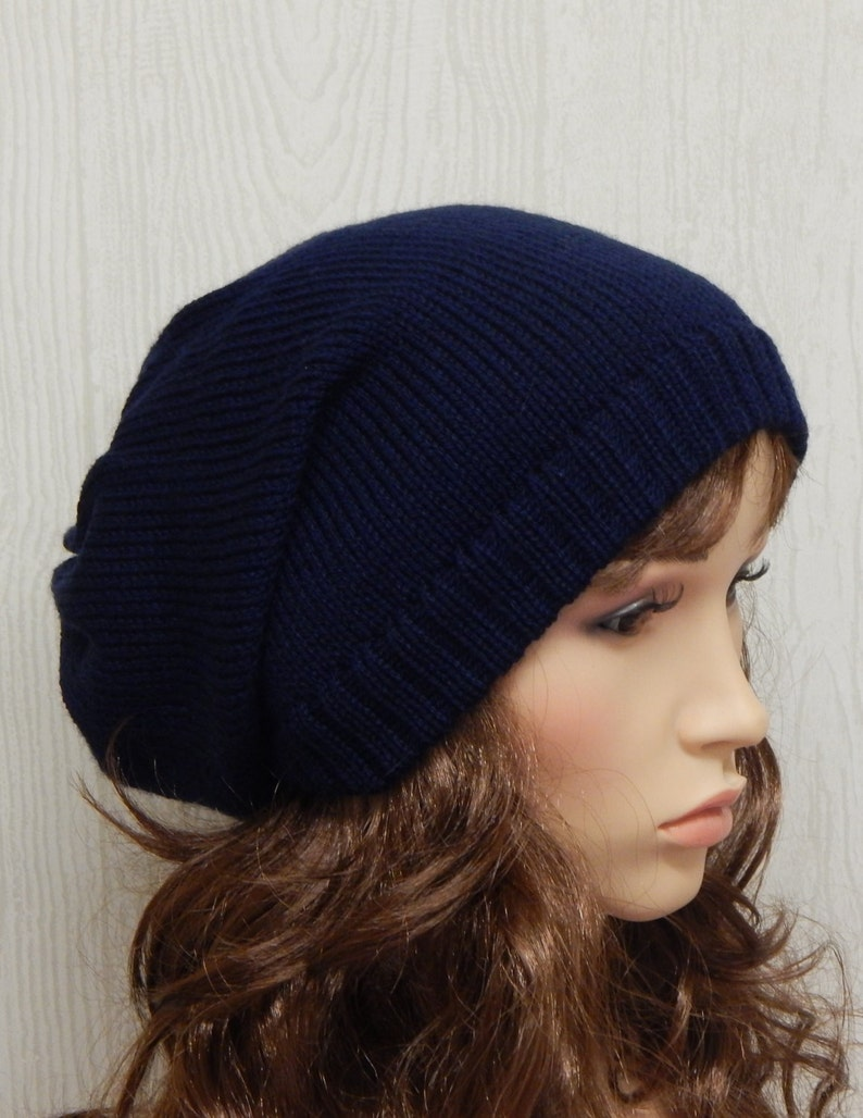370fffcf92ed23 Navy blue slouch beanie winter hat for women knitted slouchy | Etsy
