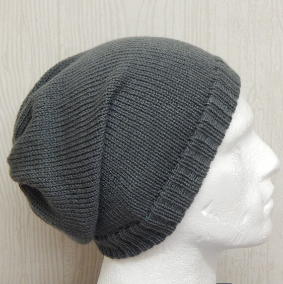 Knitted Mens Slouch Hat Grey Slouchy Beanie Handmade Hat for  75cbf38b5b7