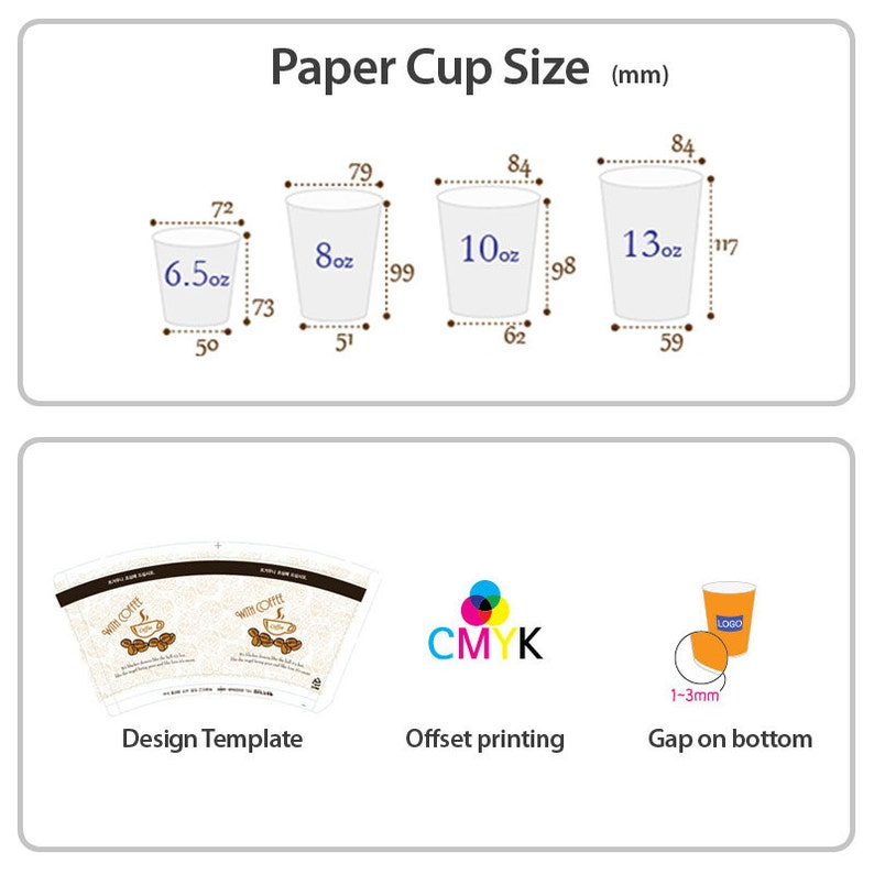 500 / 1000 Custom offset printed PAPER CUP : 8oz