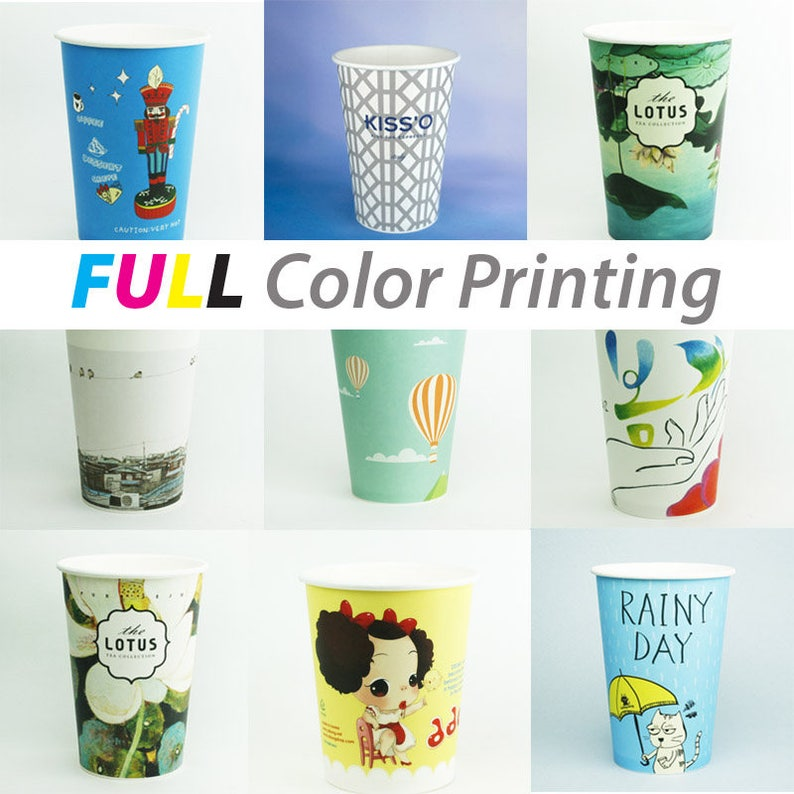 500 / 1000 Custom offset printed PAPER CUP : 6 5oz