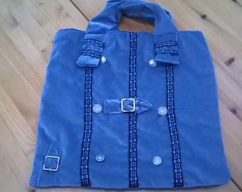 Handmade Bohemian Velvet Blue bag with buckle detail.