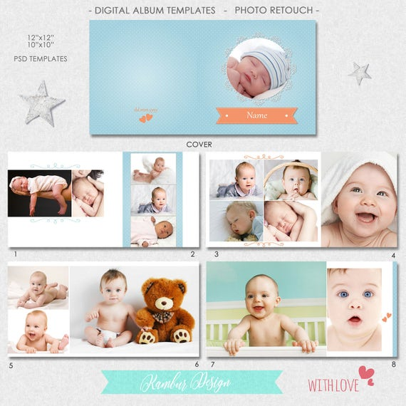12x12 10x10 psd 30 pages album template newborn baby etsy