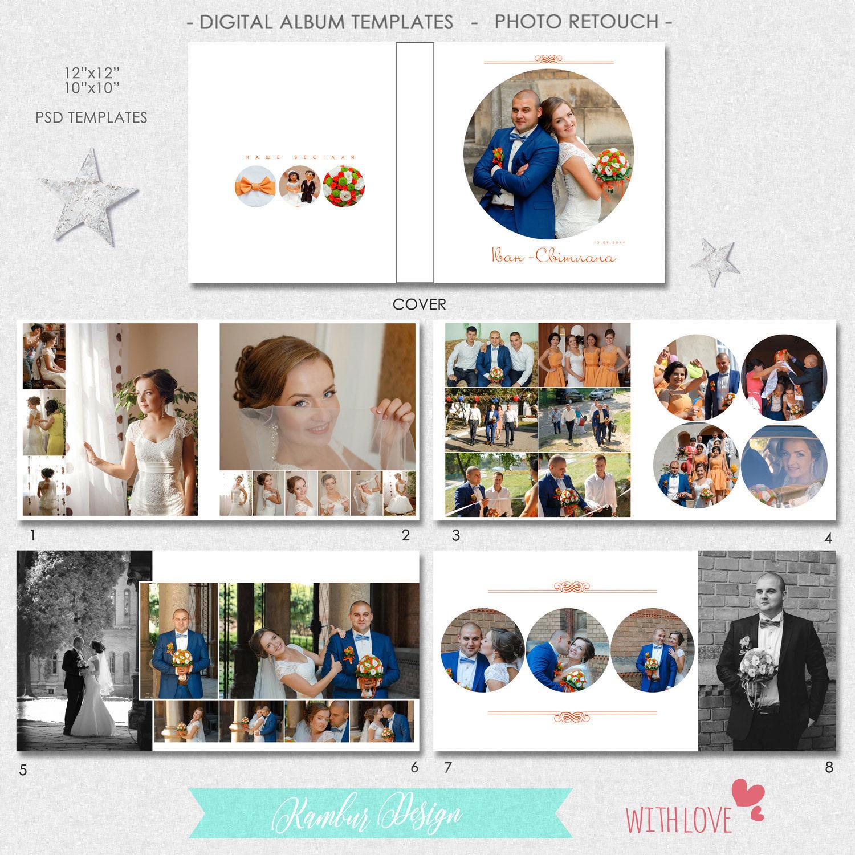 12 x 12 10 x 10 PSD 28 páginas plantilla de álbum de boda