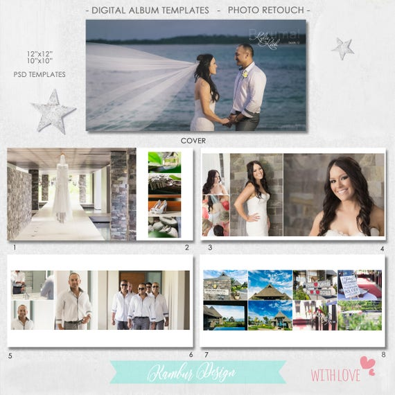 12X12 10x10 40 pages PSD Wedding Album Template 20 | Etsy