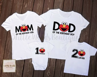Elmo Family Birthday Shirts First Shirt 1st Cute Sesame Street Party