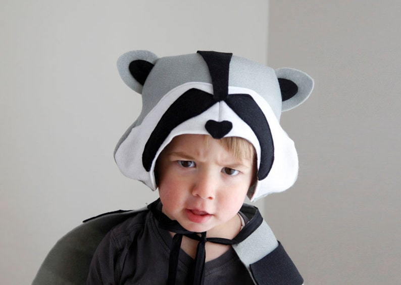 Raccoon PATTERN DIY costume mask boy sewing instant download image 0