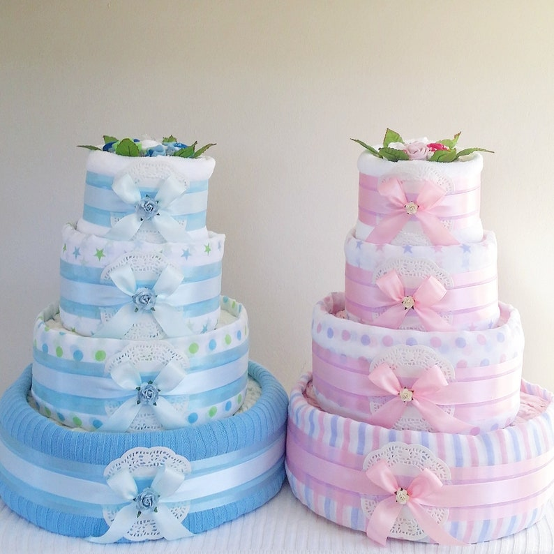 Nappy Cake  4 Tier Silver  Baby Shower Gift Maternity New image 0