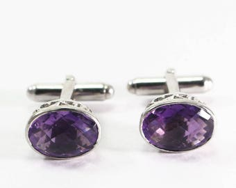 Handmade Amethyst  925 Sterling Silver Mens Cufflinks Jewelery by Amore India C350