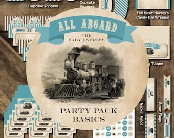 Train Baby Shower Printables, Train Printable Package, Choo Choo Printables, Train Baby Shower Decor, Vintage Train Shower Decorations
