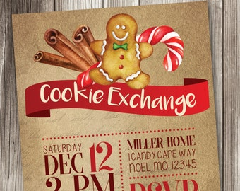 Oh Snap, Christmas Cookie Invitation, Holiday Cookie Exchange Invitations, Cookie Swap Invitation, Gingerbread Invitations #008