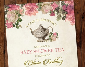 Baby Shower Tea Invitation, Floral Tea Party Invitations, Garden Tea Party Invitation, Tea Party Invitation, Baby Shower Tea Party Invite
