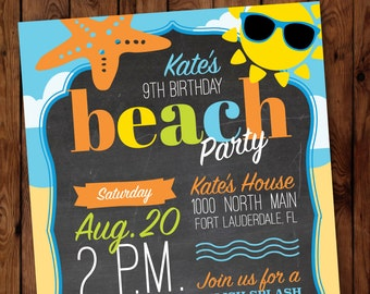 Beach Party Birthday Invitation, Beach Party Invitation, Swimming Party Invitation, Summer Birthday Invitation