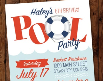 Pool Party Birthday Invitation, Pool Party Invitation, Swimming Party Invitation, Summer Birthday Invitation #002