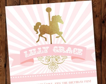 Carousel Birthday Invitation, Carousel Birthday, Birthday Invitation, Carousel Invitation, First Birthday Invitation, Pink Carousel, #003