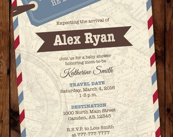 Baby shower invitation travel themed shower invite baby oh etsy travel shower invitation travel baby shower invitation travel themed invitation map invitation oh the places he will go invitation filmwisefo