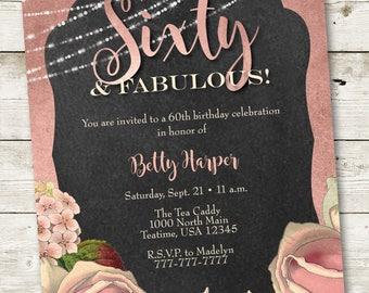40th birthday invitation fabulous party invitations woman etsy