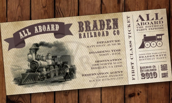 boarding pass invitations train birthday invitation train etsy