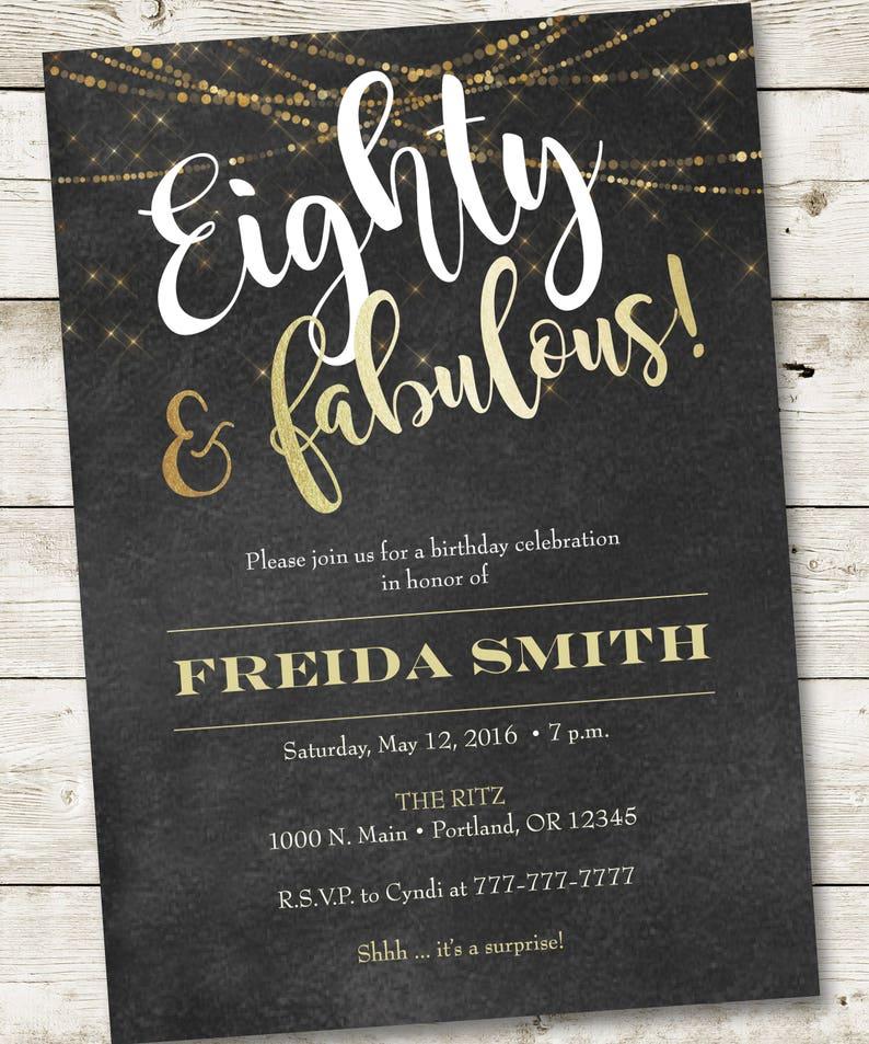 80th Birthday Invitation Fabulous Party Woman