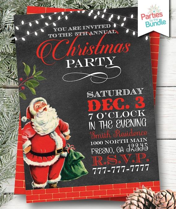 retro santa christmas party invitation retro christmas etsy