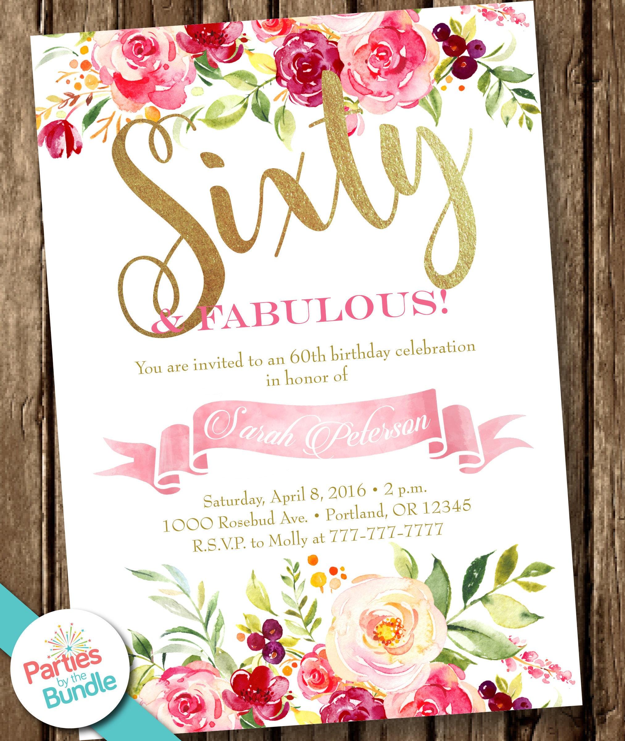 60th Party Invitation Watercolor Floral Birthday Invitation | Etsy