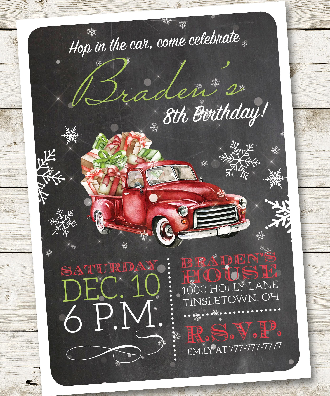 Christmas Truck Birthday Invitation Red Truck Birthday