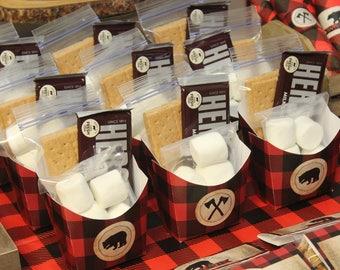 Smore Favor Box, Smore Favors, Lumberjack Birthday Printables, Lumberjack Party, Lumberjack Party Favors, DIGITAL
