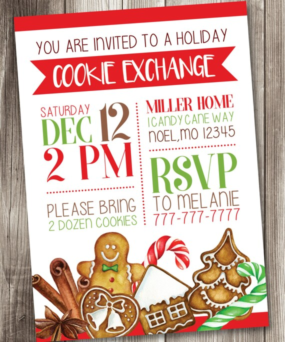 Christmas Cookie Exchange Invitation Holiday Cookie Exchange Etsy