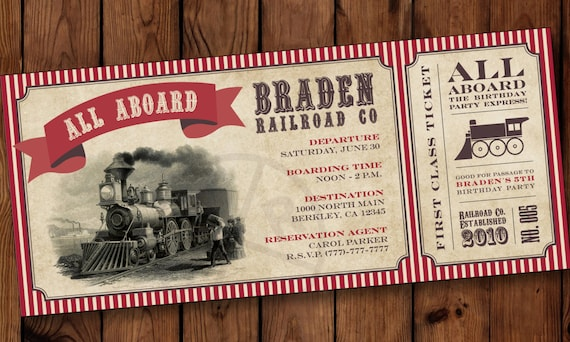 train birthday invitation boarding pass invitations train etsy