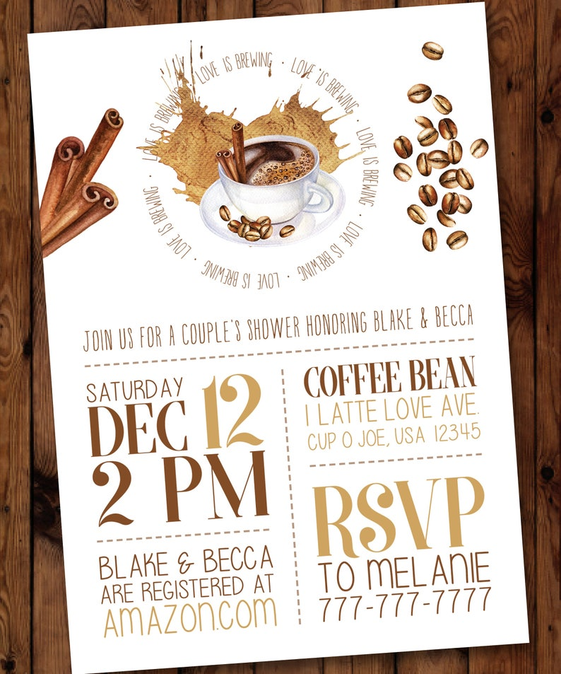 cb99535b3c7b Coffee Bridal Shower Invitation Perfect Blend Love is
