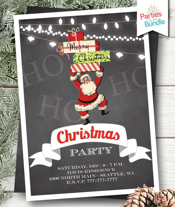 Office Christmas Party Invitation.Retro Santa Christmas Party Invitation Retro Christmas Invite Santa Christmas Party Invitation Office Christmas Party Invite