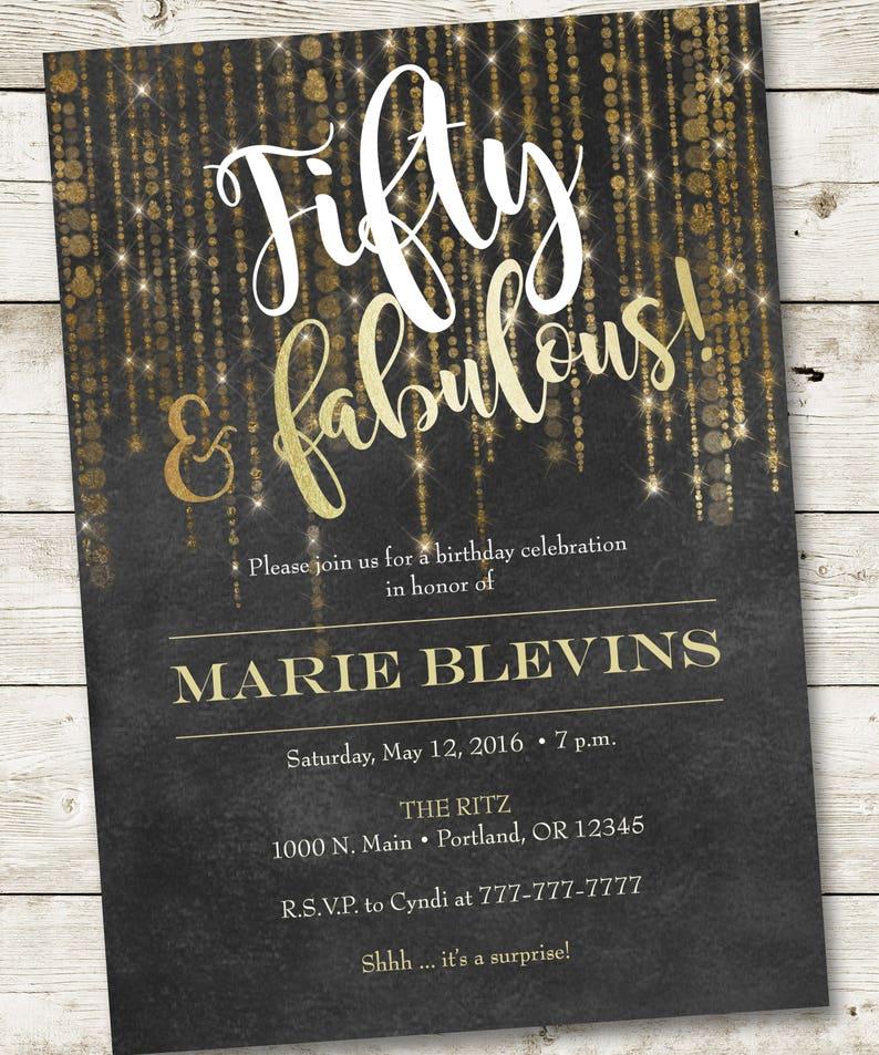 50th Birthday Invitation Fabulous Party Invitations Golden