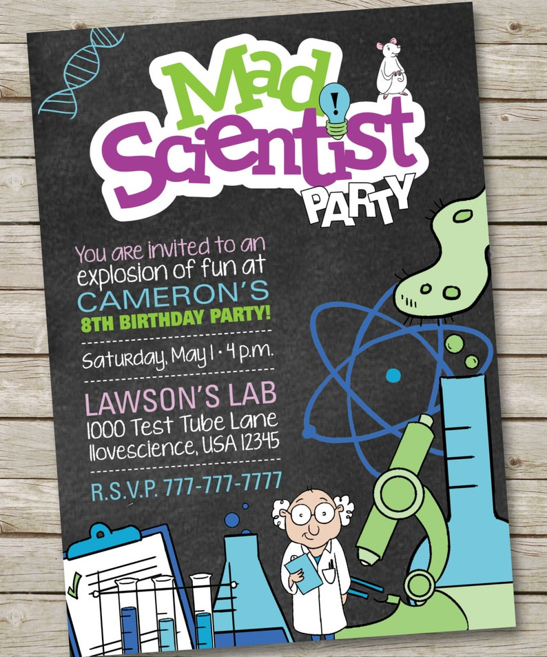 Mad Science Birthday Party Invitation Science Lab Party Boy Etsy
