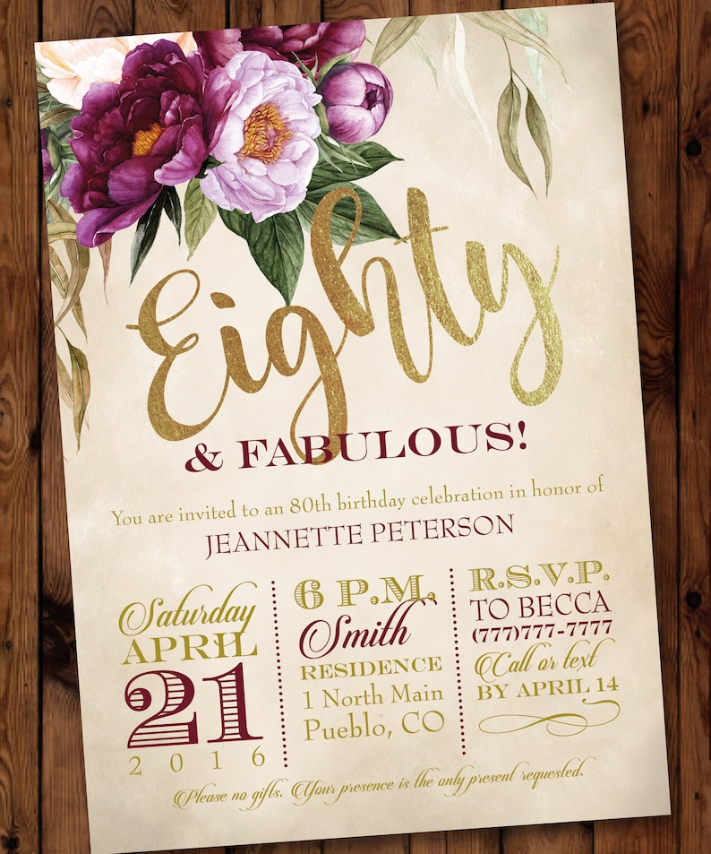 80th Party Invitation Watercolor Floral Birthday