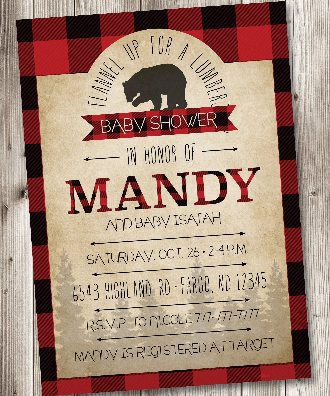 Lumberjack Baby Shower Lumberjack Baby Shower Invitations | Etsy